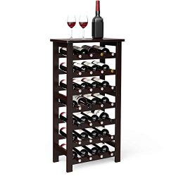LANGRIA 28-Bottle Wine Rack Made of Natural Bamboo Wood with Table Top 7-Tier Free Standing Stor ...