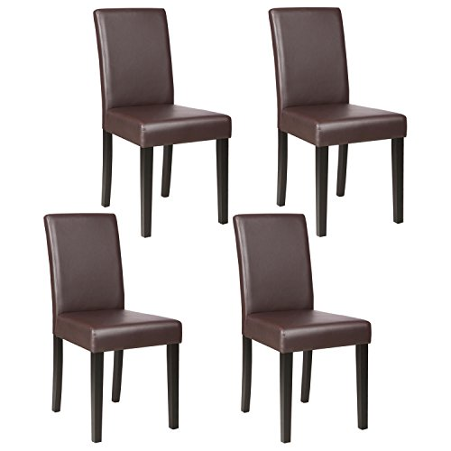 Mecor Dining Chairs Set of 4,Kitchen Leather Chair with Solid Wood Legs Leather Padded Dining Ro ...