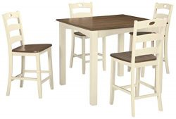 Signature Design by Ashley D335-223 Woodanville Counter Height Dining Room Table and Bar Stools  ...