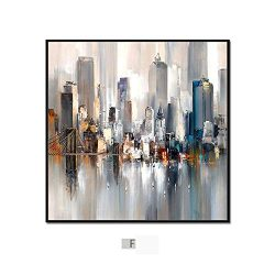 DEED Modern minimalist abstract city painting, triple living room sofa background wall decoratio ...