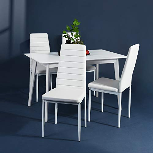 Set Of 4 Kitchen Chairs: Aingoo White Kitchen Chairs Set Of 4 Dining Chair Black