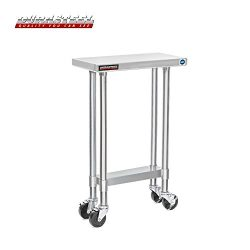 DuraSteel Stainless Steel Work Table 24″ x 12″ x 34″ Height w/ 4 Caster Wheels ...