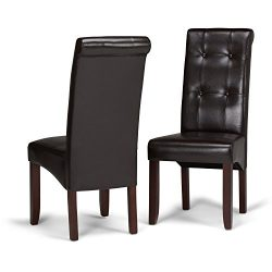 Simpli Home WS5109-4 Cosmopolitan Contemporary Deluxe Tufted Parson Chair (Set of 2) in Tanners  ...