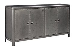 Ashley Furniture Signature Design – Rock Ridge 4-Door Accent Cabinet – Antique Gunme ...