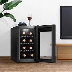 Wine Cooler Refrigerator 8 Bottle Freestanding Wine Cellar Thermoelectric Wine Fridge with Tempe ...