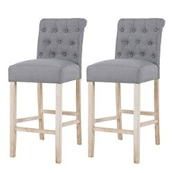 NOBPEINT Fabric Upholstered Barstool Solid Wood Legs 30″, Gray(Set of 2)