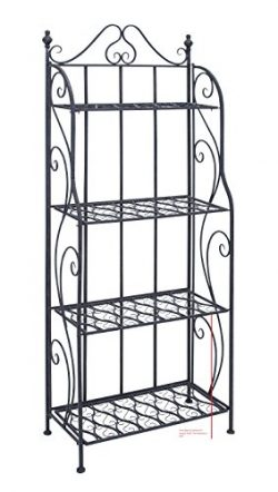 Deco79 Metal Bakers Rack, 64″ H/25 W, Black