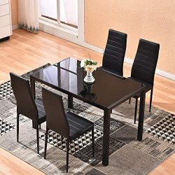 Dining Table with Chairs,4HOMART 5 PCS Glass Dining Kitchen Table Set Modern Tempered Glass Top  ...