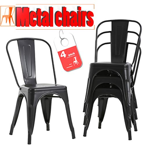 FDW Stackable Chair Restaurant Chair Metal Chair Chic Metal Kitchen Dining Chairs Set of 4 Tratt ...