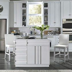 "Home Styles 8000-948 Linear Modern Kitchen Island and Stools W-49 ½"", D-34"", H-36 ¼"" High Gloss  ..."