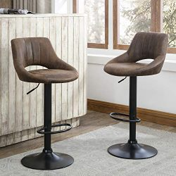 Art Leon Modern Retro PU Leather Adjustable 360 Swivel BarStools Set of 2 with Open Backrest Bla ...