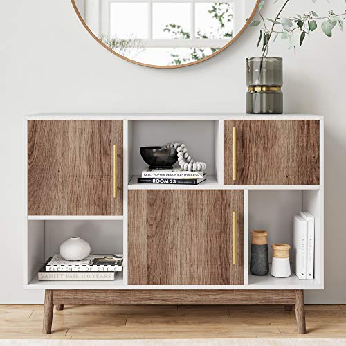 Nathan James 75501 Ellipse Modern Multipurpose Display Storage Unit Entryway Furniture, White
