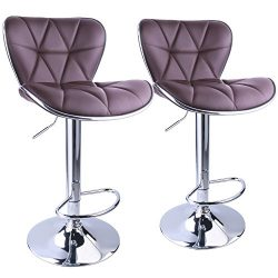Leopard Shell Back Adjustable Swivel Bar Stools, PU Leather Padded with Back, Set of 2 (Brown)