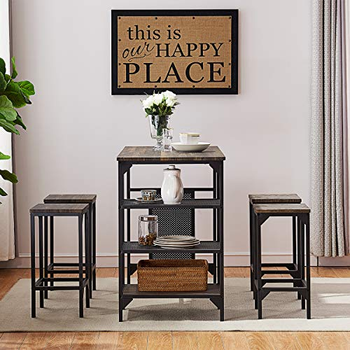 O&K Furniture 5-Piece Dining Room Table Set, Bar Pub Table Set, Industrial Style Counter Hei ...