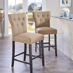 Great Deal Furniture (Set of 2) Carlson Mocha Brown Fabric Counter Stool