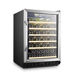 LANBO Red Wine Cellar, 52 Bottles Built-in or Freestanding Wine Cooler Fridge with Safety Lock a ...
