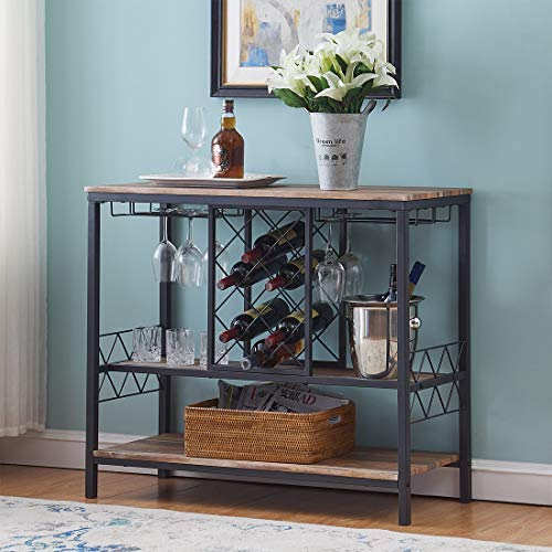 O&K Furniture Industrial Wine Rack Table with Glass Holder, Console/Buffet Table with Storag ...
