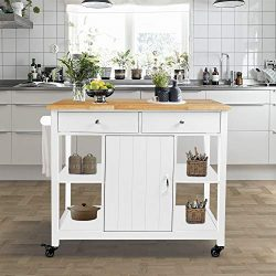ChooChoo Kitchen Cart on Wheels with Wood Top, Utility Wood Kitchen Islands with Storage and Dra ...