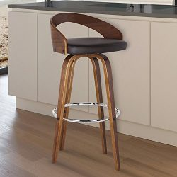Armen Living LCSOBABRWA26 Sonia 26″ Counter Height Barstool in Brown Faux Leather and Waln ...