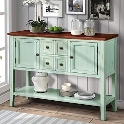 P PURLOVE Console Table Buffet Table Sideboard with Four Storage Drawers Two Cabinets and Bottom ...
