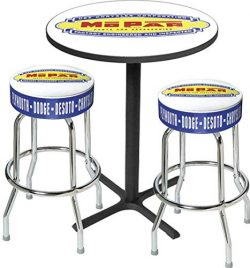OER MD67501 1948-53 Mo.par Logo Black Base Pub Table and Chrome Stool Set
