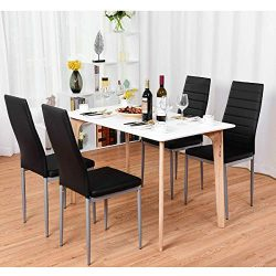 Giantex Set of 4 PU Leather Dining Side Chairs with Padded Seat Foot Cap Protection Stable Frame ...