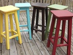 Painted bar stool/counter stool/wood/ distressed/color's 25″-28″-30″ high
