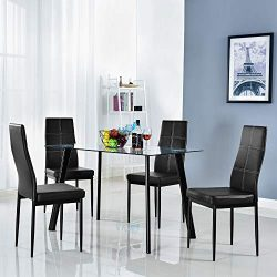 Bonnlo 5 Pieces Dining Set Modern Dining Table Set for 4 Persons Kitchen Dining Table with 4 PU  ...