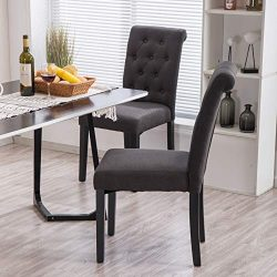 YEEFY Fabric Habit Solid Wood Tufted Parsons Dining Chair (Set of 4) (Charcoal)