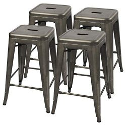 Furmax Metal stools High Backless Metal Indoor-Outdoor Counter Height Stackable bar Stools (Gun  ...