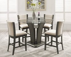 Roundhill Furniture P051GY Kecco Gray 5-Piece Round Glass Top Counter Height Dining Set