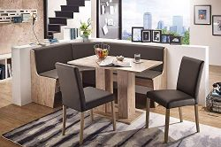 German Furniture Warehouse Nook Table Sylt Breakfast Bench Corner Dining Set 3 Piece Kitchen Mod ...