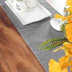 Hokic Gray Table Runner 12 x 48 inch Elegant Polyester Farmhouse Table Runner for Wedding Dining ...
