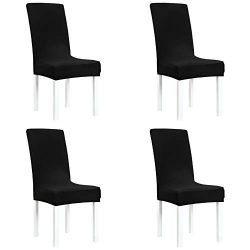 Obstal Black Stretch Spandex Dining Room Chair Covers – Set of 4 Universal Removable Washable Ch ...