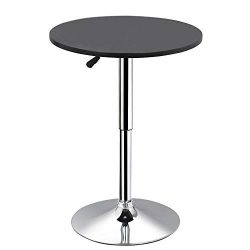 Yaheetech Round Pub Bar Table Black MDF Top with Silver Leg Base 27.4-35.8 inch Adjustable 66Lb  ...