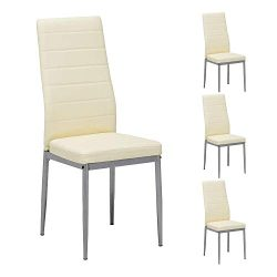 Mecor Dining Chairs Set of 4,Modern Dining Chairs High Back PU Leather with Steel Frame Legs Kit ...