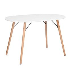 FurnitureR Kitchen Dining Table Modern Table Desk for Dining Room Kitchen Breakfast Nook-White