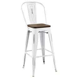 Modway Promenade Modern Aluminum Bistro Bar Stool With Bamboo Seat in White