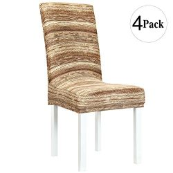 Obstal Stretch Spandex Dining Room Chair Covers – Set of 4 Universal Removable Washable Chair Se ...