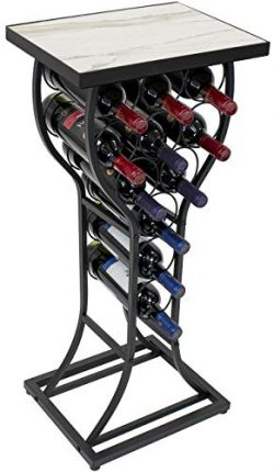 Sorbus Marble Wine Rack Console Table – Freestanding Wine Storage Organizer Display Rack f ...