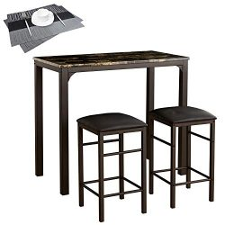 VECELO Faux Marble Dining Table 3-Piece Set, High/Pub Table with 2 Bar Stools, 2 Placemats