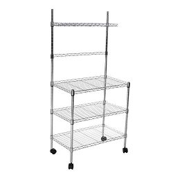 Auvem Microwave Rack Shelf, 3-Layer Microwave Bakers Utility Storage Rack, Kitchen Cart Microwav ...