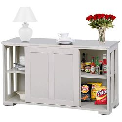 lunanice Kitchen Dining Room White Storage Buffet Cabinet Sideboard Cupboard Pantry Console Tabl ...