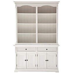 NovaSolo Provence Pure White Mahogany Wood Double Hutch With Storage, 8 Shelves And 2 Drawers