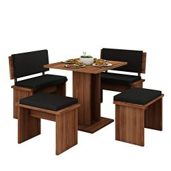 Furniture.Agency Bond Small 5 Piece Dinning Room Set Multiple Finishes Eco-Leather Cushions Plum ...