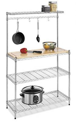 Whitmor Supreme Baker's Rack with Food Safe Removable Wood Cutting Board – Chrome (Renewed)