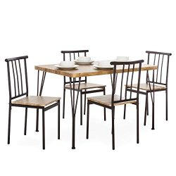 Best Choice Products 5-Piece Indoor Modern Metal and Wood Rectangular Dining Table Furniture Set ...