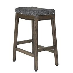HomePop K7446-F2182 Blake Backless 24″ counter hight stool Settee Dark Grey