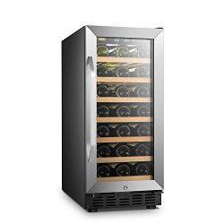 LANBO Small Wine Cellar Refrigerator, 33 Bottles Under Counter Compressor Wine Cooler, Black and ...