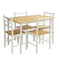 FurnitureR Kitchen Dining Table Set 5 Pieces Wood Modern Metal Frame Table and Chair Set Desk fo ...